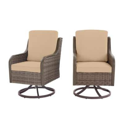 Windsor Brown Wicker Outdoor Patio Swivel Dining Chair with Sunbrella Beige Tan Cushions (2-Pack)