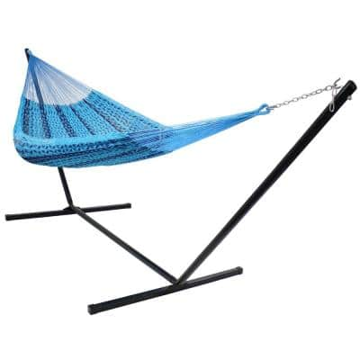 Mayan 13 ft. XX-Large Thick Cord Hammock Bed and Stand Set in Blue