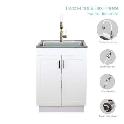 All-in-One 23.6 in. x 19.7 in. x 34.6 in. Stainless Steel Laundry/Utility Sink and Wood Cabinet with Faucet in White