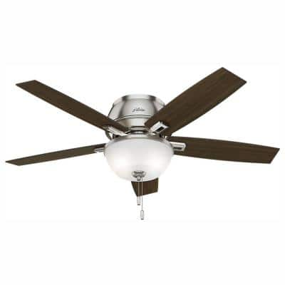 Donegan 52 in. LED Indoor Low Profile Brushed Nickel Bowl Ceiling Fan