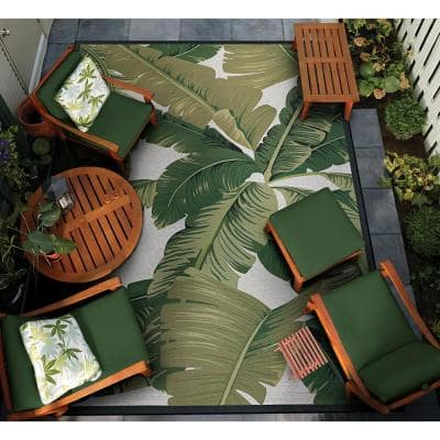 Dolce Palm Lily Hunter Green-Ivory 8 ft. x 11 ft. Indoor/Outdoor Area Rug