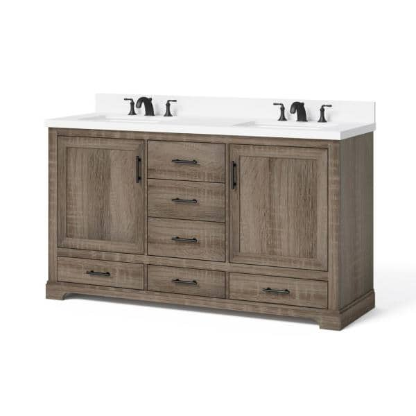 Glacier Bay Kendall 60 In W X 34 5 In H Bath Vanity In Distressed Oak With Engineered Stone Vanity Top In White With White Basin Hdc60prgv The Home Depot