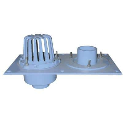 2 in. No Hub CO.D.e Blue Cast Iron Dual Roof Drain with Single Dome