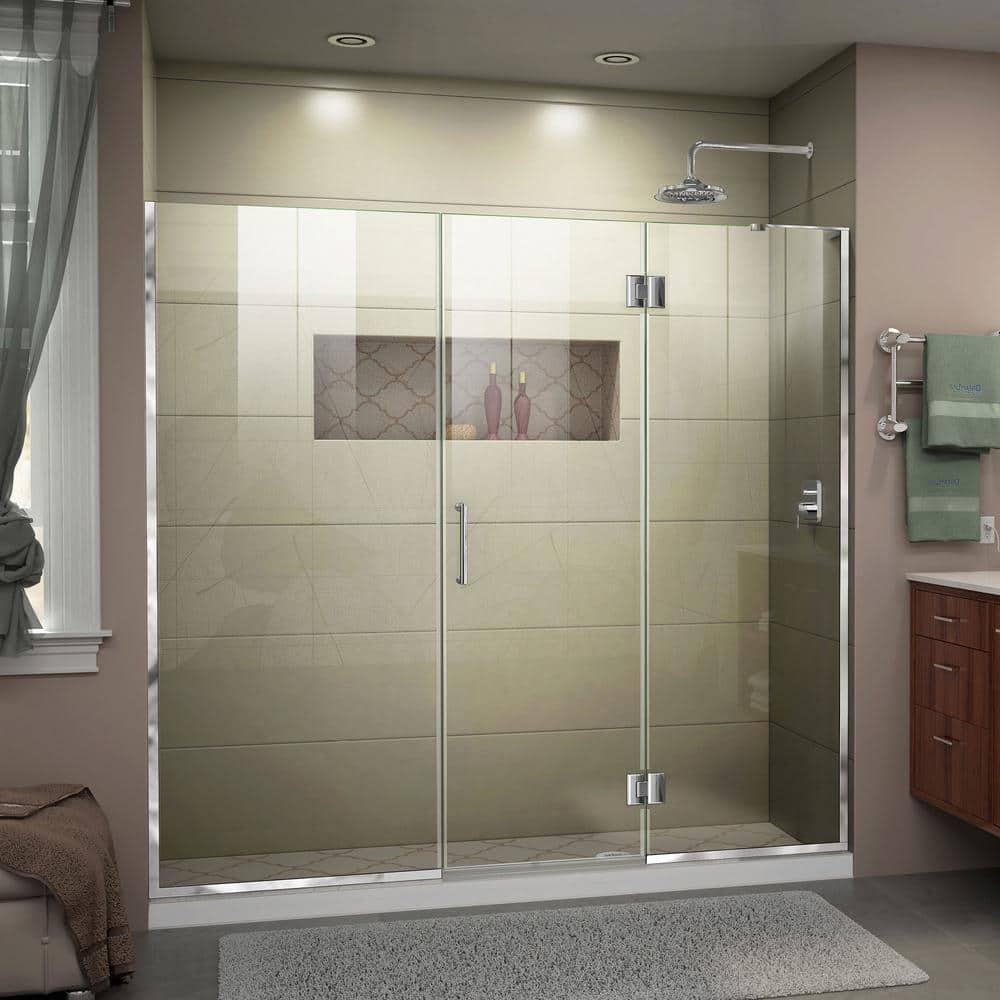 Dreamline Unidoor X 72 5 To 73 In X 72 In Frameless Hinged Shower Door In Chrome D32622572r 01 The Home Depot