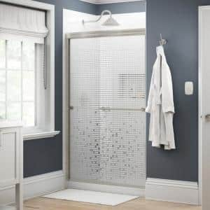 Everly 48 in. x 70 in. Traditional Semi-Frameless Sliding Shower Door in Nickel and 1/4 in. (6mm) Mozaic Glass