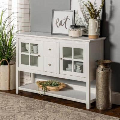 52 in. Transitional Wood and Glass Buffet - White
