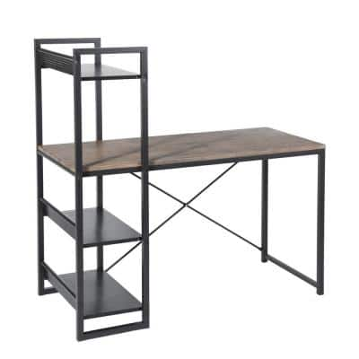Alaska 47.2 in. Brown Writing Desk with 3 Shelves