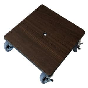 12 in. Heavy-Duty Square HPL Resin Wood Grain Plant Caddy with Metal Lockable Casters in Tosca