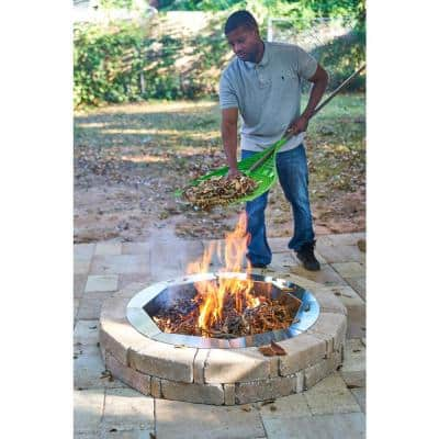 RumbleStone 46 in. x 7 in. Round Concrete Burn Pit Kit in Cafe with Round Steel Insert