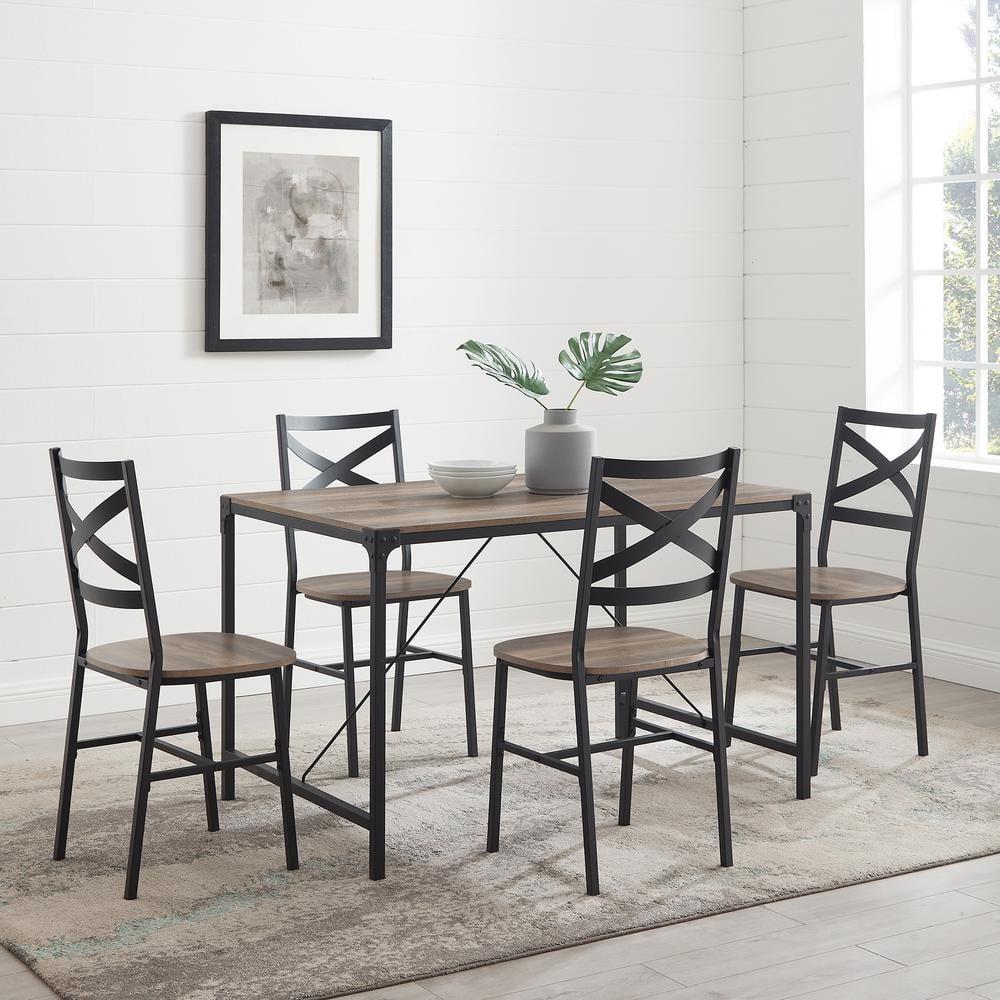 5 Piece Grey Wash Angle Iron Dining Set, Wood And Iron Dining Room Set
