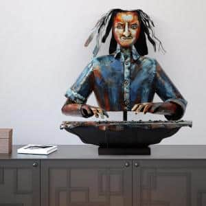 ''The Pianist'' Mixed Media Inregular Iron Hand-Pinted Colorful Art Sculpture
