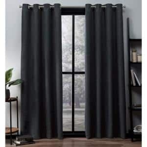 Charcoal Thermal Grommet Blackout Curtain - 52 in. W x 63 in. L (Set of 2)