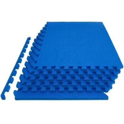 Extra Thick Exercise Puzzle Mat Blue 24 in. x 24 in. x 1 in. EVA Foam Interlocking Anti-Fatigue (6-pack) (24 sq. ft.)