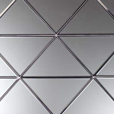 Reflections Silver Triangle 7 in. x 7 in. Matte Mirror Glass Deco Wall Tile (12.24 sq. ft./Case)