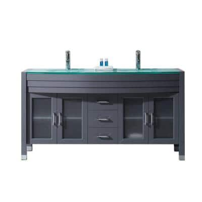 Ava 63 in. W Bath Vanity in Gray with Glass Vanity Top in Aqua Tempered Glass with Round Basin and Faucet