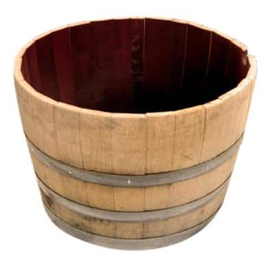 Watertight 19 in. H x 27 in. W Half Oak Wine Barrel Planter