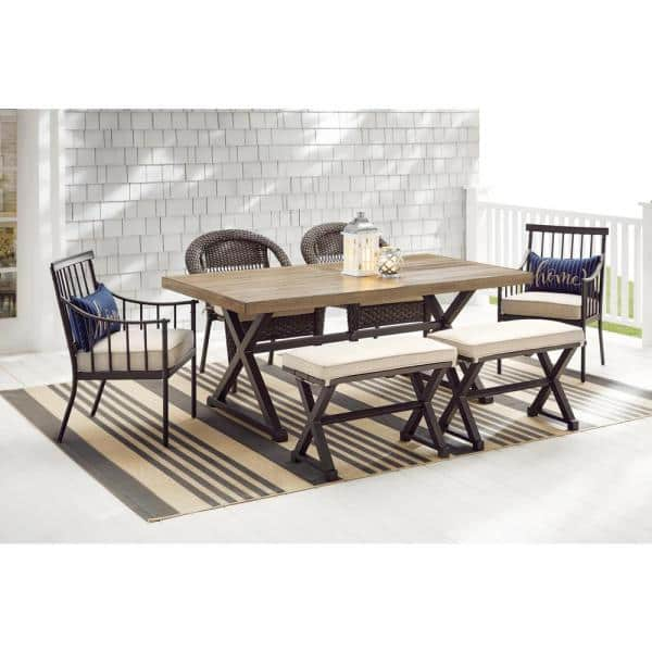 Stylewell Mix And Match 72 In Rectangular Metal Outdoor Dining Table With Farmhouse Trestle Base And Tile Tabletop 3038 Dt7 The Home Depot