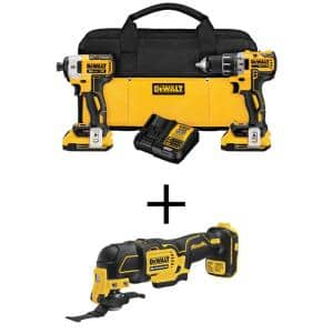 20-Volt MAX XR Cordless Brushless Drill/Impact Combo Kit (2-Tool) with (2) 20-Volt 2.0Ah Batteries & Oscillating Tool