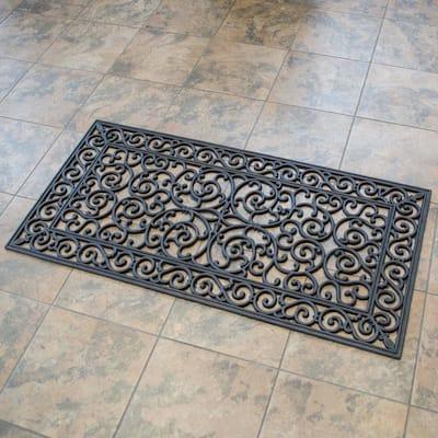 24 in. x 48 in. Decorative Scrollwork Indoor/Outdoor Entryway Rubber Door Mat (2-Pack)