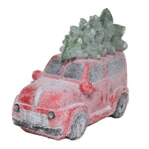 17 in. Tall Retro Red Car with Christmas Tree, LED Lights, and Music