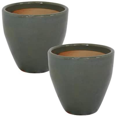 Resort 10 in. Gray Ceramic Outdoor Planter (2-Pack)