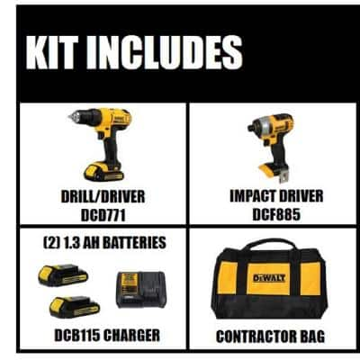 20-Volt MAX Cordless Drill/Impact Combo Kit (2-Tool) with (2) 20-Volt 1.3Ah Batteries, Charger & Bag