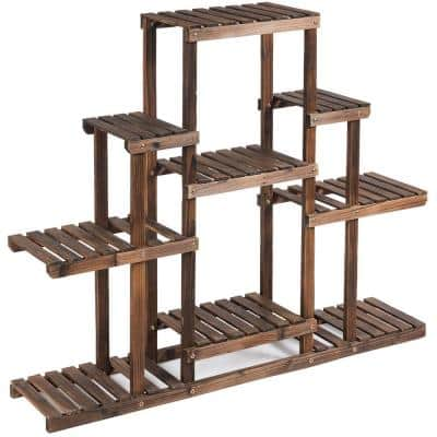 6-Tier Carbon Baking Wood Outdoor Plant Stand Plant Display Rack Multifunctional Storage Shelf