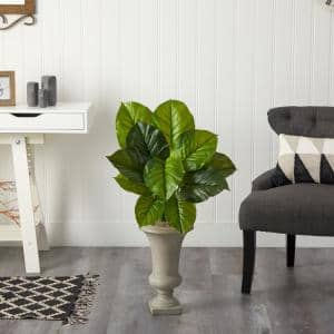 3 ft. Artificial Large Philodendron Leaf Plant in Sand Colored Urn