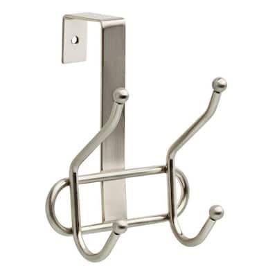 4-3/5 in. Satin Nickel Over-the-Door Hook Rack
