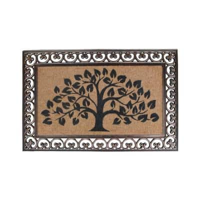 Hand Finished Tree of Life Brown 30 in. x 48 in. Rubber and Coir Classic Paisley Border Extra Large Double Door Mat