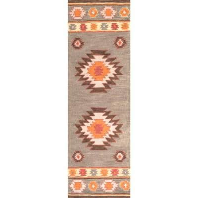 Shyla Abstract Sage 3 ft. x 12 ft.  Runner