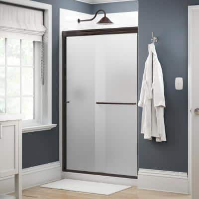 Simplicity 48 in. x 70 in. Semi-Frameless Traditional Sliding Shower Door in Bronze with Niebla Glass