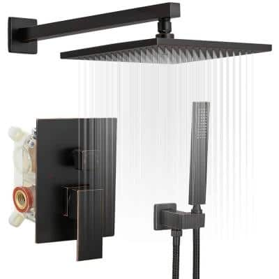 1-Spray Patterns with 2.5 GPM 10 in. Wall Mount Dual Shower Heads with Mixer Valve in Oil Rubbed Bronze