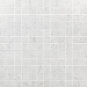 Marmo Bianco 12 in. x 12 in. Matte Marble Look Porcelain Mosaic Tile (1 sq. ft. / each)