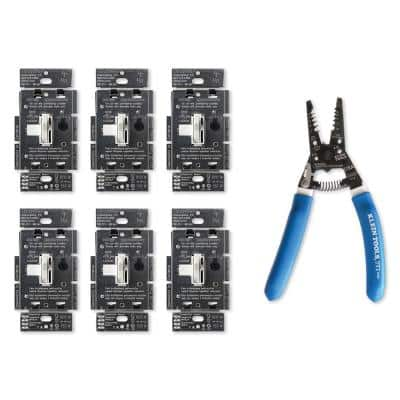Toggler LED Dimmer Switch, White (6-Pack), Klein Wire Stripper/Cutter for 8-16 AWG Solid Wire, 10-18 AWG Stranded Wire