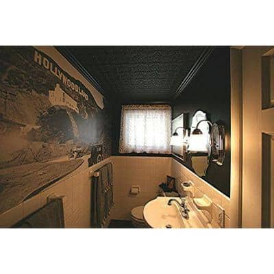 Dimensions Faux 24 in. x 48 in. Black Tin Style Ceiling and Wall Tiles