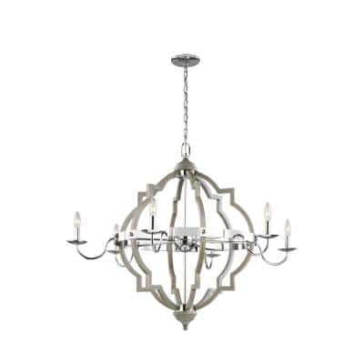 Socorro 6-Light Washed Pine and Chrome Accents Quatrefoil Rustic Farmhouse Chandelier with Dimmable Candelabra LED Bulb