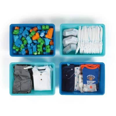 Blue and Teal Large Plastic Storage Bins (Set of 4)