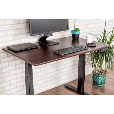 45 in. Rectangular Black/Dark Walnut Standing Desks with Adjustable Height