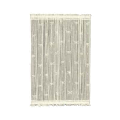 Dragonfly Ecru Polyester Light Filtering Curtain Door Panel - 45 in. W x 40 in. L