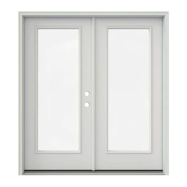 Jeld Wen 72 In X 80 In Primed Steel Left Hand Inswing Full Lite Glass Active Stationary Patio Door Thdjw205900542 The Home Depot