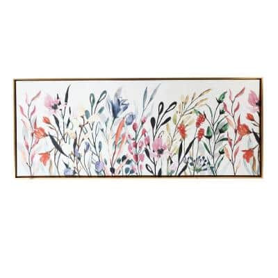 Colorful Wildflowers Floating Canvas Floral Floater Frame Nature Art Print 19 in. x 45 in.