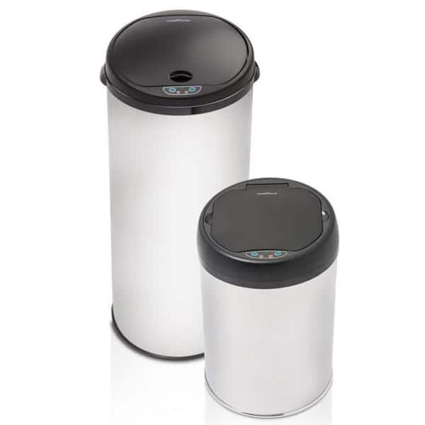 Hamilton Beach 11 Gal And 3 Gal Polished Stainless Steel Motion Sensor Trash Can Set With Smartsense Technology 2 Piece Mas 604 The Home Depot