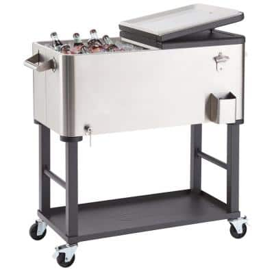 80 Qt./20 Gal. Stainless Steel Wheeled Cooler with Detachable Tub