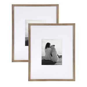 Gallery 16x20 matted to 8x10 Rustic Brown Picture Frame Set of 2