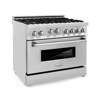 ZLINE 36 in. Professional 4.6 cu.ft. 6 Gas on Gas Range in Stainless Steel with Brass Burners