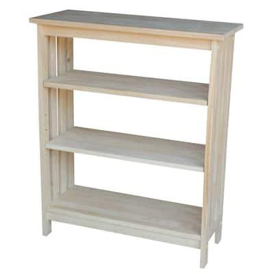 36 in. Unfinished Wood 3-shelf Standard Bookcase with Adjustable Shelves