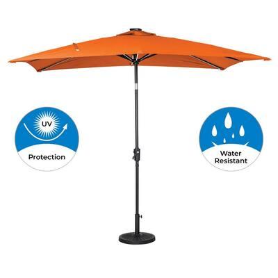 9 ft. x 7 ft. Rectangular Next Gen Solar Lighted Market Patio Umbrella in Orange