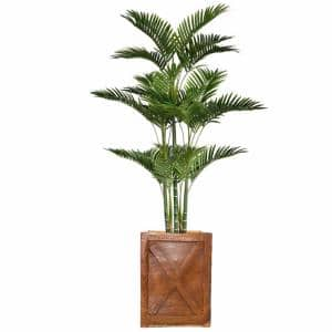 69 in. Tall Palm Tree Artificial Decorative Faux with Burlap Kit and Fiberstone Planter