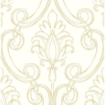 Sketched Metallic Gold Damask Vinyl Peel & Stick Wallpaper Roll (Covers 30.75 Sq. Ft.)